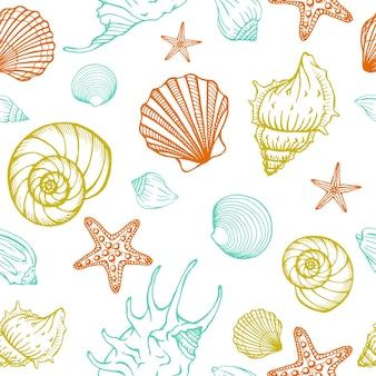 Modello senza cuciture con conchiglie, stelle marine. sfondo marino. illustrazione vettoriale disegnato a mano nello stile di abbozzo. perfetto per saluti, inviti, libri da colorare, tessuti, matrimoni e web design.