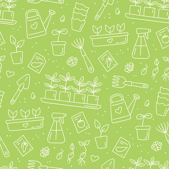 Modello senza cuciture con semi e piantine. germinazione dei germogli. strumenti e vasi per piantare. illustrazione vettoriale disegnata a mano su sfondo bianco