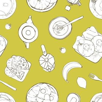 Modello senza cuciture con deliziosi pasti per la colazione serviti che si trovano su piatti disegnati a mano con linee di contorno su sfondo verde. illustrazione monocromatica per carta da imballaggio, carta da parati, stampa su tessuto.
