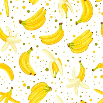 Modello senza cuciture con un set di banane isolato su uno sfondo bianco Vettore Premium