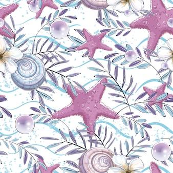 Modello senza cuciture con conchiglie, stelle marine e foglie di una pianta tropicale sulle onde.