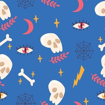 Modello senza cuciture con teschio, ossa, occhi, luna, stelle, ragnatela. illustrazione vettoriale.