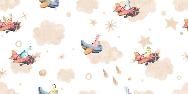 Modello senza cuciture con cielo e dinosauri, nuvole, punti, stelle d'oro, simpatica illustrazione infantile