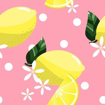 Modello senza cuciture con fette di limoni, fiori e foglie