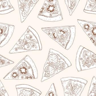 Modello senza cuciture con fette di deliziosa pizza italiana tradizionale disegnata a mano con linee di contorno su uno spazio luminoso