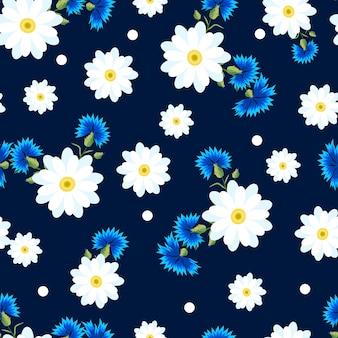 Modello senza cuciture con margherite bianche piccole e grandi e fiordalisi blu