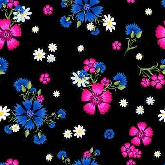 Modello senza cuciture con margherite bianche piccole e grandi, garofani rosa e fiordalisi blu