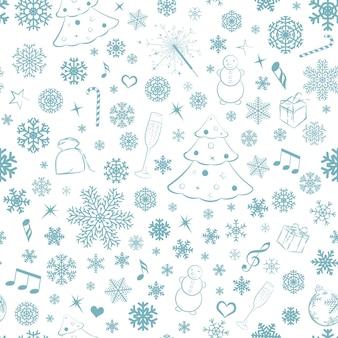 Modello senza cuciture con fiocchi di neve e simboli natalizi, turchese su bianco