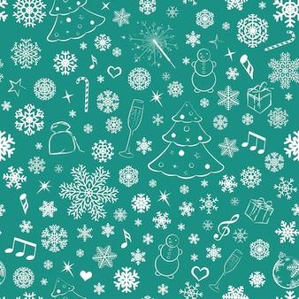 Modello senza cuciture con fiocchi di neve e simboli natalizi, bianco su verde