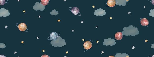 Modello senza cuciture con spazio, stelle, pianeti, simpatica illustrazione per bambini ad acquerello