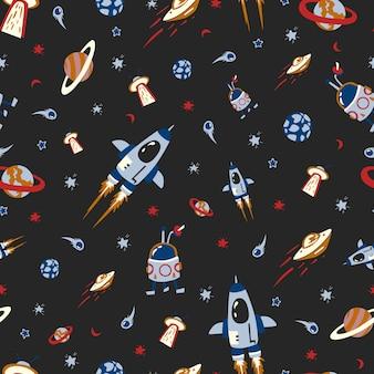 Modello senza cuciture con astronavi e stelle