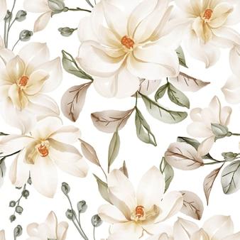 Modello senza cuciture con fiori primaverili magnolia bianco e foglie