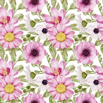 Modello senza cuciture con fiori primaverili rosa e foglie