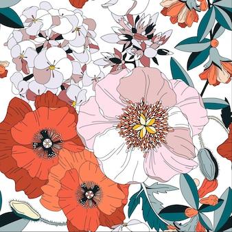 Motivo senza cuciture con fiori primaverili