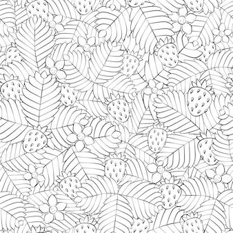 Modello senza cuciture con fragole e fiori in stile lineare. campo disegnato a mano di fragola di bosco selvatico