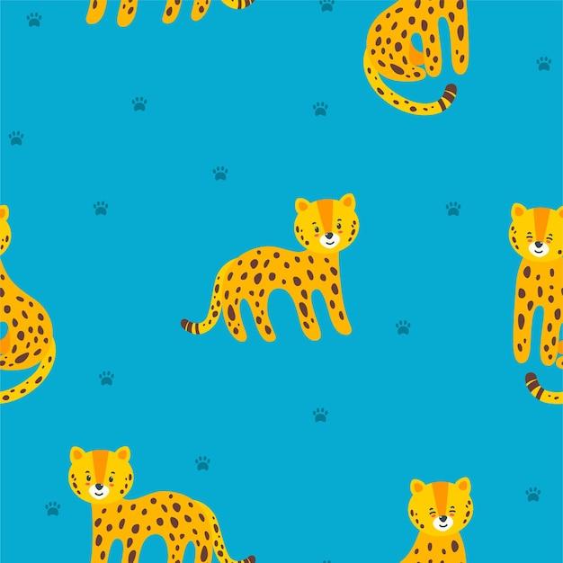 Modello senza cuciture con leopardi in piedi e seduti e impronte di zampe su sfondo blu