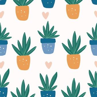 Modello senza cuciture con succulente in vaso