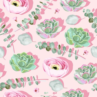 Modello senza cuciture con piante grasse e fiori su uno sfondo rosa con ombra rosa