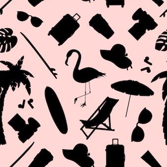 Modello senza cuciture con oggetti estate e spiaggia. illustrazione di oggetti stilizzati.