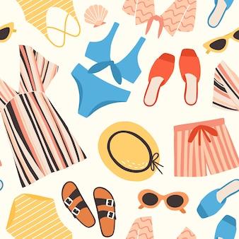 Modello senza cuciture con abiti estivi e accessori su sfondo bianco - occhiali da sole, pantaloncini, cappello di paglia, costume da bagno, tunica. illustrazione piatto colorato per stampa tessile, carta da imballaggio