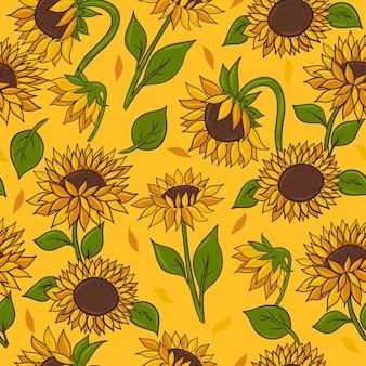 Modello senza cuciture con girasoli su sfondo giallo