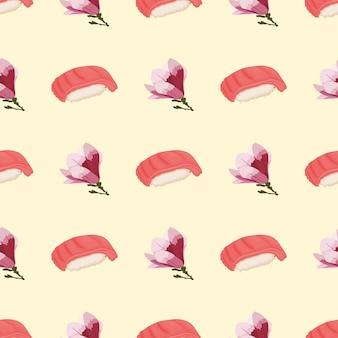 Modello senza cuciture con sushi e fiori di ciliegio per l'estate