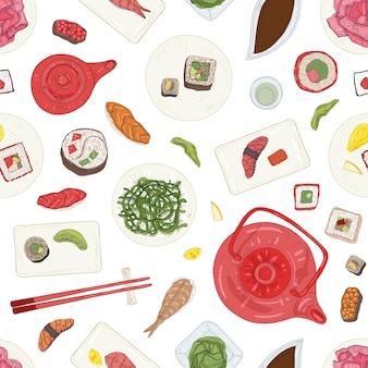 Modello senza cuciture con sushi, sashimi, rotoli su piatti e ingredienti su sfondo bianco.