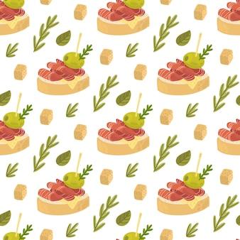 Modello senza cuciture con tapas spuntino tradizionale spagnolo con formaggio rosmarino jamon e olive