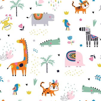 Modello senza cuciture con animali tropicali tribali. sfondo vivaio creativo. perfetto per il design per bambini, tessuto, confezionamento, carta da parati, tessuto, abbigliamento