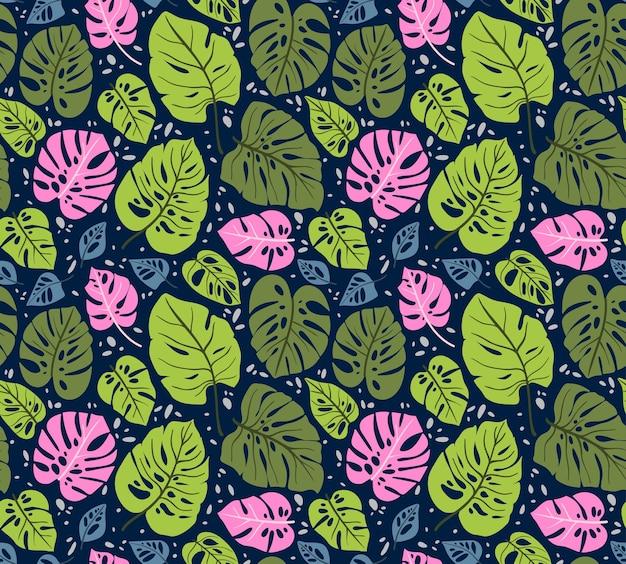 Modello senza cuciture con foglie tropicali. foglia di monstera. ornamento floreale della giungla.