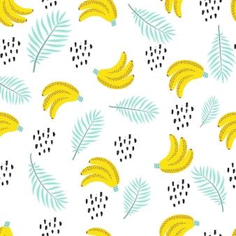 Modello senza cuciture con foglie di palma tropicale e banane. illustrazione vettoriale.