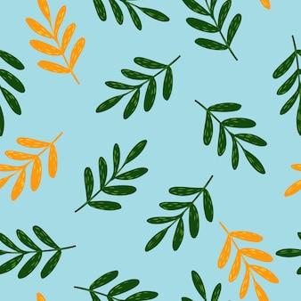 Modello senza cuciture con ramoscello verde su sfondo blu