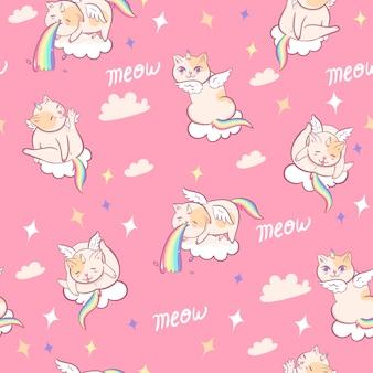 Modello senza cuciture con gatti unicorno. grafica.