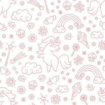Modello senza cuciture con unicorno, arcobaleno, stella cadente e bacchetta magica in stile doodle.