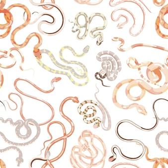 Modello senza cuciture con vari serpenti esotici su sfondo bianco. sfondo con rettili carnivori tropicali o serpenti. illustrazione vettoriale colorato in stile piatto per carta da imballaggio, stampa su tessuto.