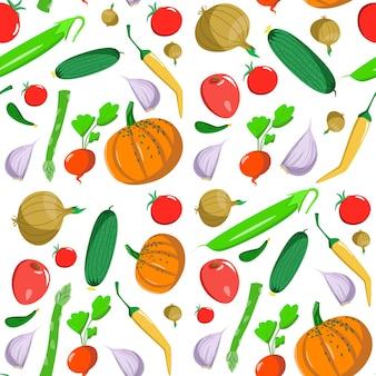 Modello senza cuciture con verdure in stile cartone animato. trama vettoriale. icone piane pepe, zucca, asparagi e pomodoro. cibo sano vegetariano. vegan, farm, organic, natural background