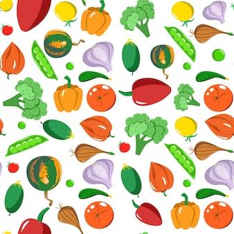 Modello senza cuciture con verdure in stile cartone animato. trama vettoriale. icone piane pepe, zucca, piselli, aglio e pomodoro. cibo sano vegetariano. vegan, farm, organic, natural background