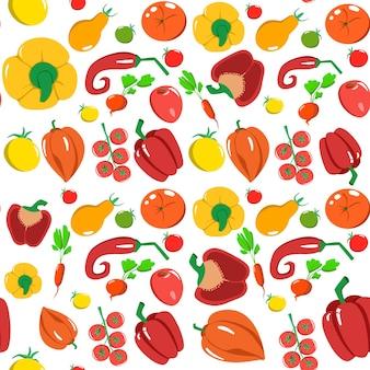 Modello senza cuciture con verdure in stile cartone animato. trama vettoriale. icone piane pepe, ravanello, pomodoro. cibo sano vegetariano. vegan, farm, organic, natural background