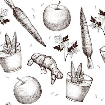 Modello senza cuciture con l'illustrazione disegnata a mano dell'inchiostro del frullato delle verdure. sfondo vintage frullato di verdure ricetta bevanda sana