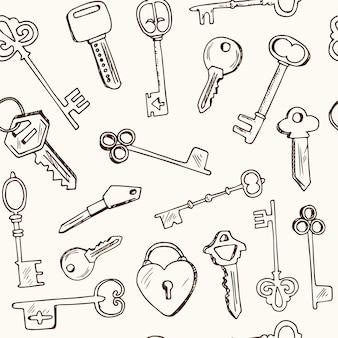 Modello senza cuciture con chiavi vintage