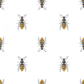 Modello senza cuciture con vespa, insetto.
