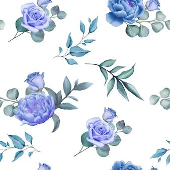 Modello senza cuciture con rami floreali blu dell'acquerello Vettore Premium
