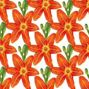 Seamless pattern con fiori di acquerello. sfondo di gigli per carta da parati, tessile, tessuto o confezione