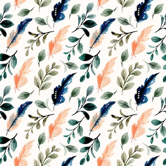 Modello senza cuciture con foglie verdi dell'acquerello e piuma blu