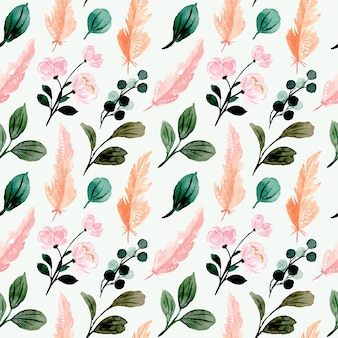 Modello senza cuciture con foglie verdi dell'acquerello e piuma rosa