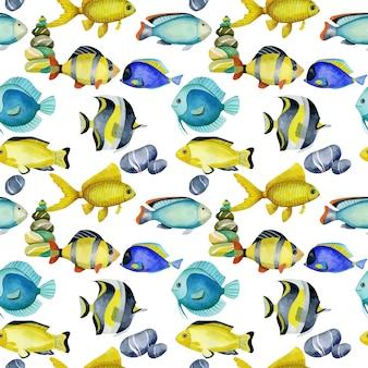 Modello senza cuciture con pesci oceanici dell'acquerello