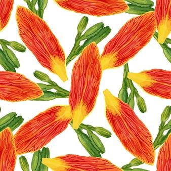 Modello senza saldatura con fiori e boccioli di petali di acquerello. sfondo di gigli per carta da parati, tessile, tessuto o confezione.