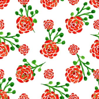 Seamless pattern con rose acquerello. illustrazione vettoriale con fiori rossi. priorità bassa floreale