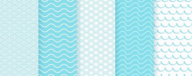 Modello senza cuciture con l'onda. trame ondulate turchesi con strisce, linee ricci.