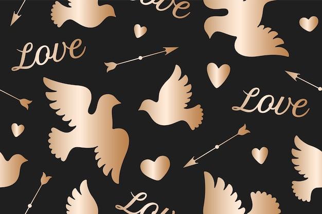 Modello senza cuciture con colombe bianche d'amore
